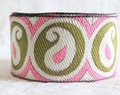 Paisley Design Jacquard Trim-Silk Saree Border Trim-Pink Paisley Design-Jacquard Fabric Trim By The Yard