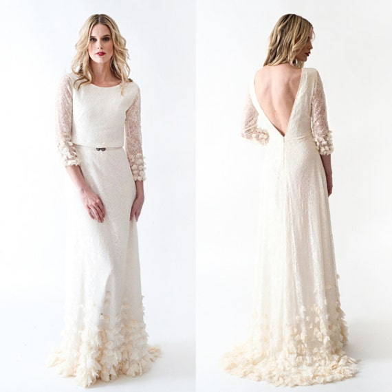 Vintage Hippie Wedding Dresses Lace Boho Wedding Dress with