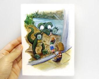 Clearance Sale: Alligator Print, Zoo Animals, 5x7 Wall Art, Crocodile Picture, Kids Room Decor, Nursery Artwork