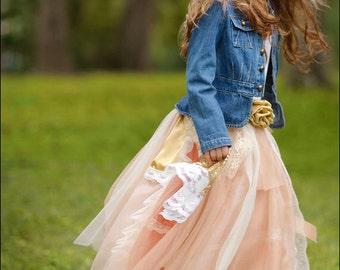 Boho Flower Girl Dress, Peach and Gold Lace Flower Girl Dress, Country Couture, Girls Tutu dress, Flower Girl Tutu