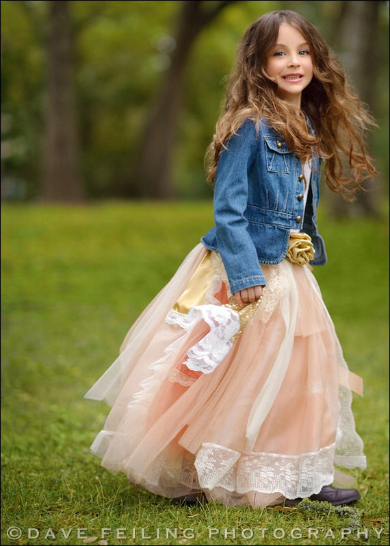 Boho flower girl dress peach and gold lace flower by for Wedding dresses for tweens
