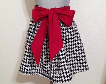 Cute Bama Houndstooth Print Full Gathered Skirt