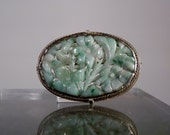 Vintage Carved Fine Jadeite and Sterling Silver Brooch Pin Green and White Jade Translucent Flower Motif DanPickedMinerals