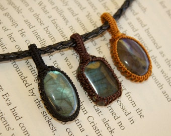 ONE Rainbow Labradorite Macrame Pendant with FREE Leather Necklace - Stone for Dreamers