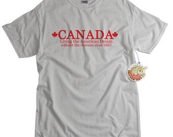 Canadian Tshirt funny Canada less violence women men youth teen ladies kids light blue funny t shirt XS S M L Xl 2xl 3xl 4xl 5xl