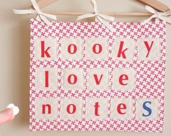 VALENTINES DAY Sign, Banner, Countdown Calendar with 14 Pockets for Kooky Love Notes, Letters - Wall Hanging, Decor, Decoration, Holder, Red