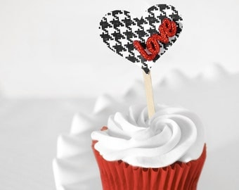 Houndstooth Wedding Heart Cupcake Toppers Red Glitter Love Black and White for Weddings, Valentine's Day Bridal/ Baby Showers - Set of 12