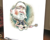 Willie, Nelson, Unique Greeting Card, Funny Birthday Card, Celebrity, Art, Handmade, Caricature, Unique Birthday Card