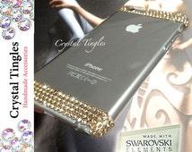 Exquisite Elegant Design For iPhone 6s Plus SE 5s 5c Clear White Gold AB Crystal Diamond Made w/ 100% Genuine SWAROVSKI Elements Cover Case