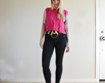 1980s SML hot pink with black polka dot CROP TOP
