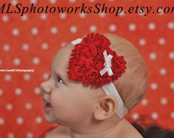 Classic Red and White Valentine's Day Heart Headband for Baby Girl - Baby's 1st Valentine's Day