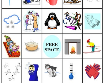 Printable Winter Bingo - 54 Bingo Cards - Download this PDF File