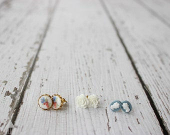 three sets of post earrings - blue cameo + vintage floral milk glass + white rose