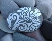 Creative Muse / White Zen series /'painted rock / Sandi Pike Foundas / beach stone from Cape Cod