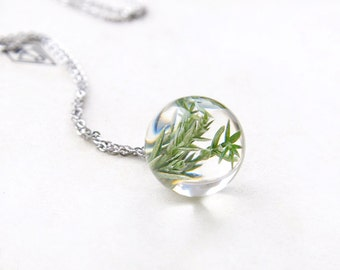 Real Juniper necklace - Resin sphere with Juniper  - woodland conifer pendant