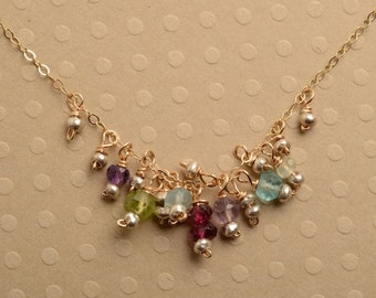 Gemstone Necklace, Birthstone Necklace, Healing Gemstone Jewelry, Gemstone Gold Chain Necklace, Delicate Gemstone Necklace
