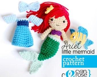 Ariel Crochet Pattern - Instant Download - Ariel Little Mermaid - amigurumi plush doll CROCHET PATTERN ONLY