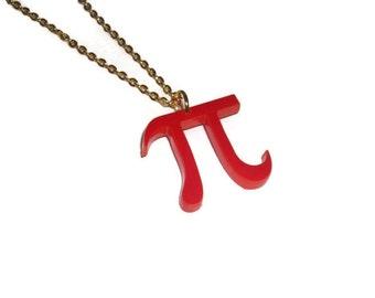 Pi Necklace, Red Laser Cut Pendant, Math, Mathematics Pythagoras, Geeky Jewelry