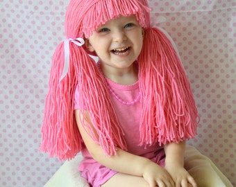 Custom Colors Doll Baby Wig Strawberry Shortcake Pigtail Hat Halloween Costume