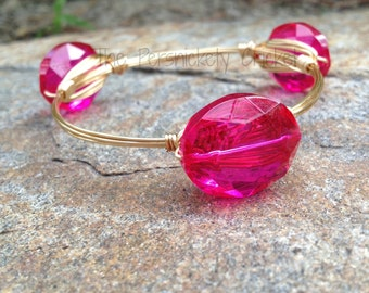 Pink Wire Wrapped Bangle in Oval Glass - The Dalzell