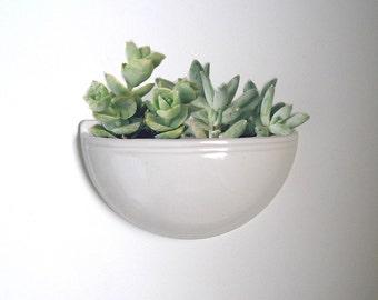 wall planter, succulent vase, cactus plant pot in white