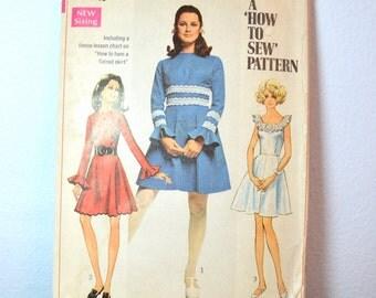 1960s Vintage Simplicity Pattern 8013 Junior Dress size 9 bust 32