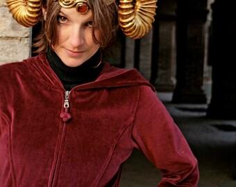 MADE TO ORDER -  horns  fantasy larp sciaman gold costume steampunk demon devil fantasy renaissance burning man