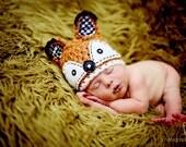 Fox Hat Newborn Hat,newborn baby boy, newborn baby girl -Orange, black and white - Fall Photo prop autumn, Made to order