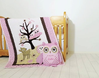 Organic Owl Quilt, Baby Girl Crib Bedding, Owl Pillow