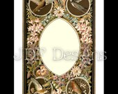 Instant Digital Download, Victorian Era Graphic, Decorative Floral Frame with Birds, Printable Image, Scrapbook, Label, Wedding, Invitation