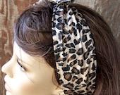 DOLLY BOW animal print hair scarf wire headband wrap hair tie hat band cotton fabric leopard print headband cheetah print