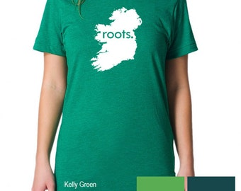 Ireland Roots Map T-Shirt - Mens & Womens(Juniors) Tee Shirts Size S M L XL