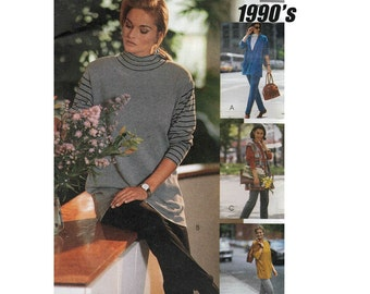 McCall's 6223 Woman's Knit Cardigan, Vest, Tunic, Stretch Pants Sewing Pattern Sizes 14-16 Bust 36-38 in/91-97cm Vintage 1992 UNCUT