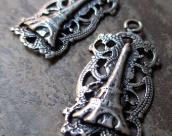 silver plated eiffel tower filigree charms paris souvenir links vintage style, 1 pair
