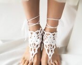 Beaded Wedding Barefoot Sandals, White Crochet Beach Sandles, Boho Anklet Jewelry, Bare Foot Dance Nude Shoes, Victorian Lace Steampunk Yoga