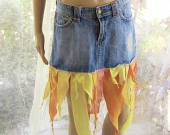 Boho Gypsy fairy skirt embellished the sun and Moon with metallic in ribbons and a little pentagram Upcycled denim skirt