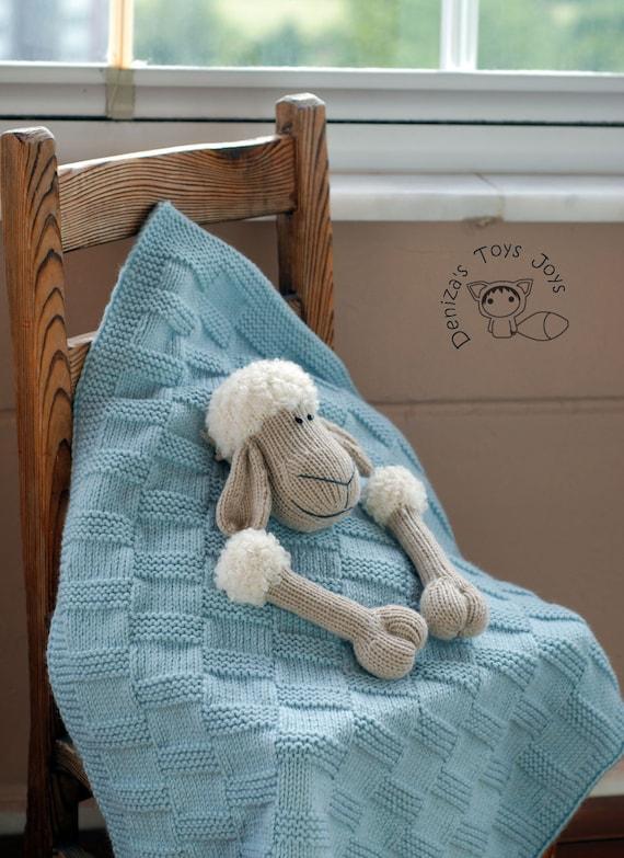 Baby Sheep Toy Blanket Knitting Pattern