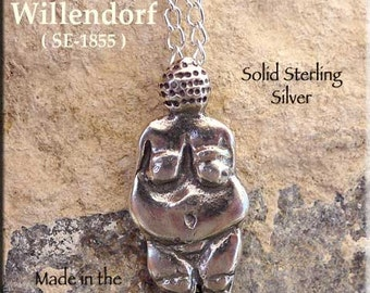 Sterling Venus of Willendorf Goddess Pendant or Necklace, Solid .925 Silver Earth Goddess Jewelry SE-1855