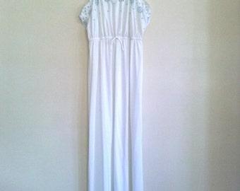 White Embroidered Maxi Slip Dress Nightie / Medium