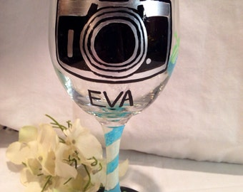 Camera Wine Glass, Hand Painted Personalized Photographer Inspired Wine Glass, Photography Wine Glass