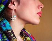 Dandelion and Love Birds Earrings-Sterling Silver or Bronze-Hand Painted Enamel