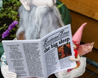 Sleeping Beauty Fairytale Newspaper - Enchanted Times Mini Zine - Whimsical Fractured Fairy Tale Fiction - Prince Charming, Brothers Grimm