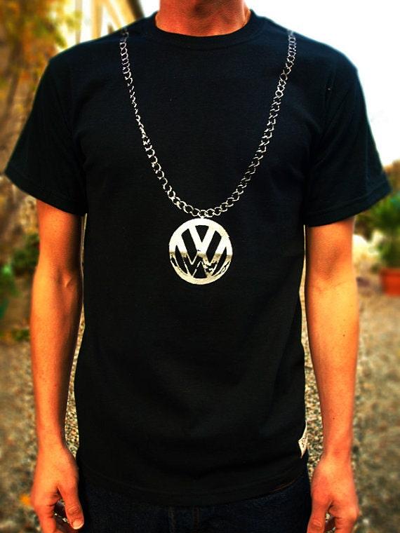 VW CHAIN T SHIRT black top mens boys hip hop clothing 90s 80s bug bus camper van beastie campervan beetle golf screen printed rap retro rare