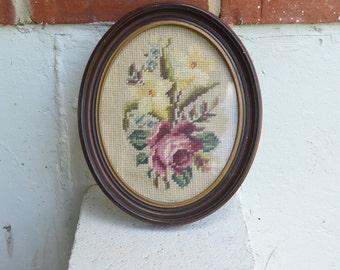 Vintage Cross Stitch in Oval Frame