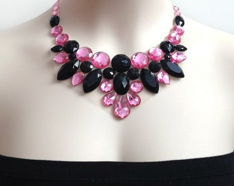 pink and jet black rhinestone bib necklace