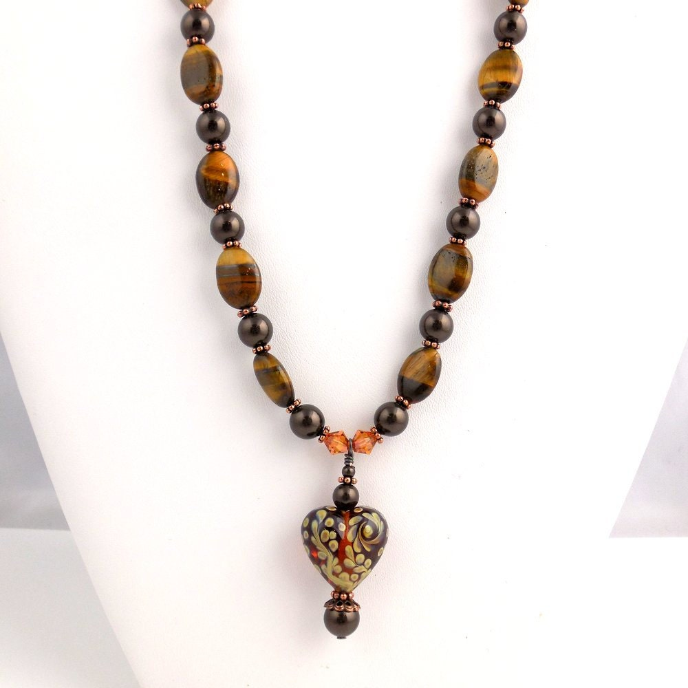 Tiger Eye Pendant Heart Necklace Lampwork Necklace Beadwork