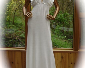 Lingerie Nightgown in Natural White Rayon/Lycra with Metallic Hand Embroidery