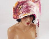 Reserved : Felted Hat, 3 Brooches, Earrings & Mittens