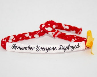 Remember Everyone Deployed, Red Friday Military Bracelet - Army, Marines, Air Force, Navy, Soldier Wife, Girlfriend, Fiance