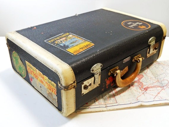 Vintage Mid-Sized Franklin Suitcase With Original Travel Decals / Non-Leather